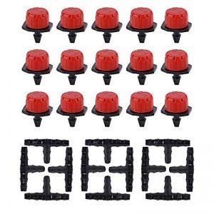 100pcs Goutteur Réglable + Joint T Kit Irrigation Automatique Drippers Goutte a Goutte Arrosage Micro Gicleurs Emetteur Goutte Système DIY Pour Jardin Serre Plantes de la marque JNCH image 0 produit