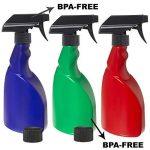 3x 500ml sans BPA pour plantes Vaporisateur bouteilles par Nomara Organics (TM). A Lot de 3: Bleu, Vert et rouge sans BPA HDPE Plastique Flacon pulvérisateur avec 3x anti-goutte, sans BPA, Déclenchent pulvérisateurs + 2x anti-fuite caches, réutilisab image 1 produit