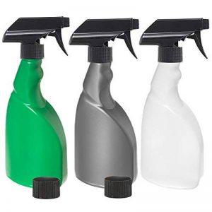 3x 500ml Spray eau bouteilles d'un Lot de 3: Vert, Argenté et naturel HDPE Plastique Flacon pulvérisateur avec 3x anti-fuite, anti-goutte Ergo Déclenchent pulvérisateurs + 2x anti-fuite caches, portable, réutilisable bouteilles multiusage pour brumis image 0 produit