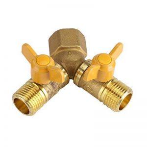 Adaptateur connecteur Robinet à 2 Voies Répartiteur tuyau pour dédoubler robinets en laiton 1/2in Accessoire pour arrosage jardin de la marque Yosoo image 0 produit