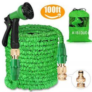 Aibiduo Tuyau d'arrosage extensible Tuyau d'arrosage 30,5m {amélioré} Magic Eau Tuyau d'arrosage double cœur en latex avec fixations en laiton massif et à Buse de pulvérisation (Vert) de la marque AIBIDUO image 0 produit