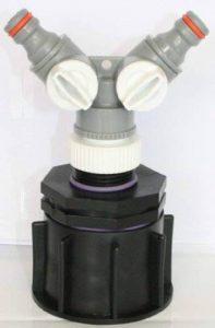 Ame80_ Y prise de courant adaptateur S60X 6Filetage épais avec Mamelon Il 2,5cm + Y-distributor pour Gardena, IBC conteneurs, accessoires, jardin, tonneaux, Citerne, adaptateurs, fixation, les conserves, les Chasse d'eau, tonnes de la marque CMTe image 0 produit