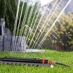 Arroseur oscillant Aquazoom 250/2 Comfort de GARDENA: arroseur de pelouse pour l'arrosage de petites surfaces rectangulaires de 25 à 250 m², portée 7 à 18 m, largeur de jet 3,5 à 14 m (1973-20) de la marque Gardena image 1 produit