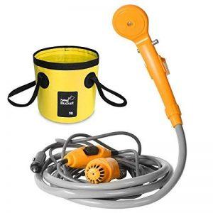 AUTOPkio Kit de seau se pliant de douche extérieure portative, campant la tête de douche enfoncent dans l'adaptateur de cigarette de 12V et transforme l'eau en courant doux régulier de la marque AUTOPkio image 0 produit