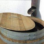 Barrique de vin, Citerne eau de pluie en bois de chêne 225 Litres recupérateur (Tonneau ouvert avec couvercle) de la marque Temesso image 3 produit