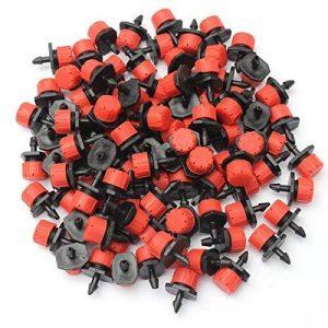 Diy Irrigation System 300PCS Réglable En Plastique Émetteur Goutteur Micro Goutte À Goutte Irrigation Arroseurs Arrosage Rouge + Noir de la marque Dugoo image 0 produit