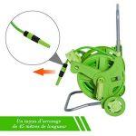 Dévidoir chariot sur roues avec tuyau 45 + 2 m et lance d'arrosage plastique métal vert 87 de la marque Outsunny image 2 produit