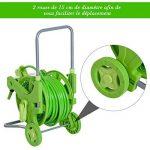 Dévidoir chariot sur roues avec tuyau 45 + 2 m et lance d'arrosage plastique métal vert 87 de la marque Outsunny image 4 produit