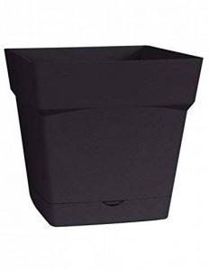 EDA Plastiques Pot TOSCANE carré avec Soucoupe clipsée 13642 G.ANT SX6 Gris anthracite 24,8 x 24,8 x 24,4 cm de la marque EDA Plastiques image 0 produit