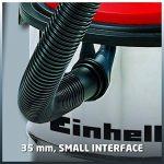 Einhell Aspirateur eaux et poussières TC-VC 1812 S (1250 W, 180 mbar, Cuve en INOX 12 L anti-corrosion, Longueur tuyau : 1,5 m, Diamètre tuyau : 36 mm, Livré avec accessoires : Flexible d'apiration, 3 tubes, grande buse, buse pour rainures, adaptateur, image 3 produit