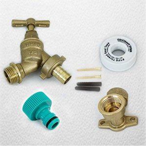 Fixthebog extérieur robinet extérieur kit Raccord de tuyau d'arrosage + plaque de montage + Vis + PTFE [Naz] de la marque FixtheDrip image 0 produit
