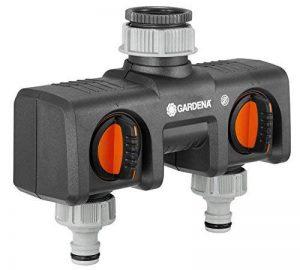 Gardena Distributeur 2 voies possibilité de raccorder 2 appareils au robinet, convient pour les programmateurs et minuteries d'arrosage, débit d'eau réglable et verrouillable (8193-20) de la marque Gardena image 0 produit