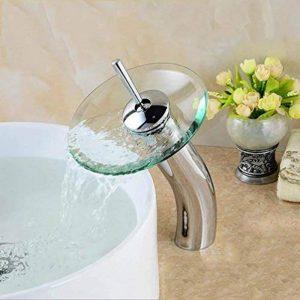 Goutte à goutte à goutte à goutte à goutte Robinet d'évier de salle de bains avec bec en verre Finition chrome Éviers de vasque Robinetterie de baignoire à vanité Robinets de lavabo Robinets de la marque DHSJUAN FAUCET image 0 produit