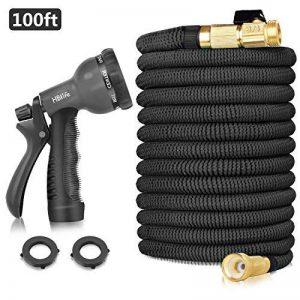 HBlife Tuyau d'arrosage Extensible Noir Extensible Rétractable avec 8 Fonction Pistolet (100ft, noir) de la marque HBlife image 0 produit
