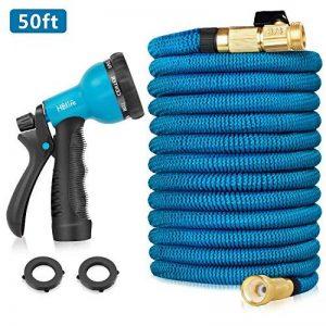 HBlife Tuyau d'arrosage Extensible Noir Extensible Rétractable avec 8 Fonction Pistolet (50ft, bleu) de la marque HBlife image 0 produit