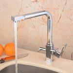 Hiendure ® Évier de cuisine robinet pivotant à mélangeur robinet à finition chromée brossée - Tri Flow - Double poignée de la marque Hiendure image 1 produit