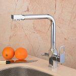 Hiendure ® Évier de cuisine robinet pivotant à mélangeur robinet à finition chromée brossée - Tri Flow - Double poignée de la marque Hiendure image 2 produit