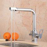 Hiendure ® Évier de cuisine robinet pivotant à mélangeur robinet à finition chromée brossée - Tri Flow - Double poignée de la marque Hiendure image 3 produit