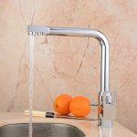 Hiendure ® Évier de cuisine robinet pivotant à mélangeur robinet à finition chromée brossée - Tri Flow - Double poignée de la marque Hiendure image 4 produit
