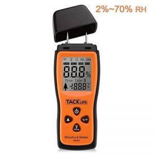 Humidimètre du Bois Tacklife WM01 Classique Détecteur d'humidité Testeur d'humidité pour Mesurer le Pourcentage d'eau dans le Bois Gamme 2 ~ 70% RH avec Écran LCD Rétroéclairé et 3 Piles 1.5V Founies de la marque Tacklife image 0 produit