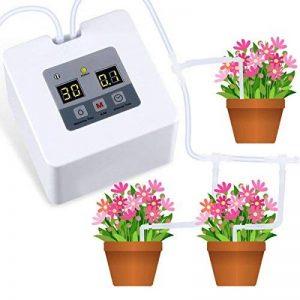"""HZT Kit d'irrigation goutte à goutte micro automatique, système d'arrosage automatique avec minuterie électronique de 30 jours, charge USB de 5V pour 10 plantes d'intérieur en pot, tuyau de 1/4"""" 33ft de la marque HZT image 0 produit"""