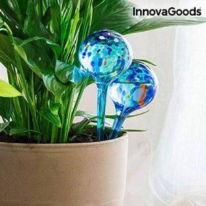 InnovaGoods 2 globes d'arrosage automatique en verre faits main Durée 10 jours boules d'irrigation goutte à goutte Plantes fleurs 350 ml x2 29 cm de la marque InnovaGoods image 0 produit