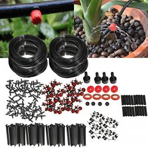 KING DO WAY Kit Irrigation Goutte À Goutte Arrosage Automatique Réglable Micro Arroseur DIY Pour Jardin Serre (Avec Connecteur Universel et Ruban de Téflon) (Kit 92 Mètres Tuyau) de la marque KING DO WAY image 0 produit