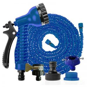 Magic Tuyau Lavage de voiture Pistolet à eau à laver l'eau tuyaux à laver outils extensible Tuyau d'arrosage avec pistolet pulvérisateur 150FT(45m) bleu de la marque Générique image 0 produit