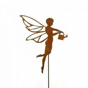 Michl volante Fée avec Arrosoir, sur tige aspect patiné Hauteur 65cm–Tige de jardin en métal pour la maison et pour offrir de la marque Metallmichl image 0 produit