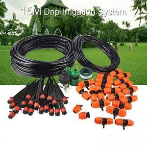 mise à niveau micro goutte système d'irrigation double spécification tuyau avec prise de terre système d'arrosage automatique pour l'usine de serres jardin d'arrosage Kit de goutte d'eau (15m, 49FT) de la marque FrideMok image 0 produit