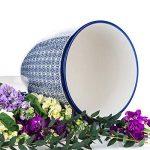 Nicola Printemps Porcelaine Pot de fleurs avec goutte à goutte Plateau avec goutte à goutte Plateau en bleu Imprimer - Diamètre 203mm de la marque Nicola Spring image 1 produit