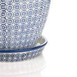 Nicola Printemps Porcelaine Pot de fleurs avec goutte à goutte Plateau avec goutte à goutte Plateau en bleu Imprimer - Diamètre 203mm de la marque Nicola Spring image 3 produit