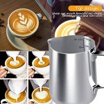 Pot à lait en acier inoxydable, 350ml à main levée Café Pot à lait Lait Pichet Pichet Tasse avec mesure Mark et Latte Art Pen, Milk pitcher carafes Idéal pour la création de Barista Cappuccino Espresso de la marque SRXWO image 4 produit