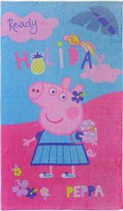 Serviette de plage PEPPA PIG–Peppa Pig Holiday Serviette de bain–Rose, bleu–70x 120cm–100% coton de la marque termana image 0 produit