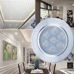 Spots LED Projecteur Encastré, Liqoo Lampe Plafonnier Orientable Rond 7W Blanc Froid 6000K 700LM AC 85V-265V Transfo Fourni IP44 Imperméable Remplacement à 50W Métal Brossé Le trou 90mm de la marque Liqoo image 1 produit