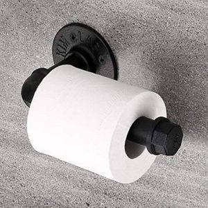 Sumnacon Rétro Porte-Rouleau de Papier Toilette Tuyau, en Acier Inox, 4 Vis et Chevilles fournies, tout les Assemblages par Filet Amovible et Démontable Facilement (Noir) de la marque Sumnacon image 0 produit