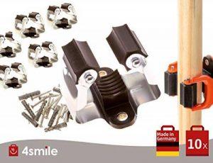 SUPPORT A OUTILS 10 pièces de 4smile Made in Germany | porte-outil | support de rangement | organisateur jardinage | Fixation facile sur murs et placards | Ultra résistant | Livraison gratuite de la marque image 0 produit