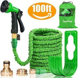 Tuyau d'Arrosage Extensible Jardin Tuyau d'arrosage Pipe- à pistolet antifuite avec fixations en laiton et flexible Crochet/Hanger 30,5 m Magic-hose tuyaux par Suplong (Vert) de la marque Suplong image 0 produit