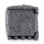 Waldbeck Timer Rock Prise de jardin • 1,5 m de câble Programmateur • Répartiteur à 2 prises protégées • Etanche et résistant aux intempéries d'après IP44 16 A / 250 V ~ • Pierre artificielle de belle forme en polyrésine d'optique granite • Gris foncé de l image 2 produit