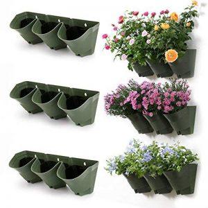 Worth VERTICAL Cintres muraux avec des pots-chaque pot suspendu mural a 3 poches-- Auto Pots de fleurs d'arrosage, décoration de jardinière intérieure et extérieure (paquet de 3 ensembles) de la marque WORTH image 0 produit