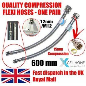 Xcel, 2x 600mm M12x 15mm Compression pour robinet monobloc de cuisine Lavabo Flexi tuyaux de la marque Xcel Home image 0 produit