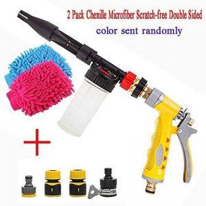 Yida Pistolet à mousse pour voiture avec gant de lavage double face 2en 1Buse de pulvérisation manuelle Canon à mousse Pulvérisateur Buse de nettoyage pour tuyau d'arrosage de la marque Yi Da image 0 produit